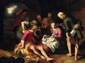 The Adoration of the Shepherds with the Annunciation to the Shepherds beyond - (after) Abraham Bloemaert