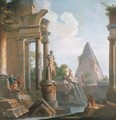 A capriccio of classical ruins with the Pyramid of Cestius - (after) Giovanni Paolo Panini