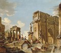 A capriccio of classical ruins with the Arch of Constantine and figures conversing - (after) Giovanni Paolo Panini