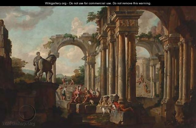 A capriccio of classical ruins with soldiers at a pool - (after) Giovanni Paolo Panini