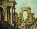A capriccio of classical ruins with soldiers and other figures conversing - (after) Giovanni Paolo Panini