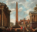 A capriccio of classical ruins with figures by the sarcophagus of Constantine, an obelisk - (after) Giovanni Paolo Panini