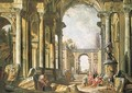 A capriccio of classical ruins with Belisarius begging at the entrance to Constantinople - (after) Giovanni Paolo Panini