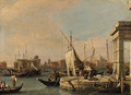 The Quay of the Dogana and the Giudecca Canal, Venice, the Churches of San Giovanni Battista and the Zitelle beyond - (after) (Giovanni Antonio Canal) Canaletto