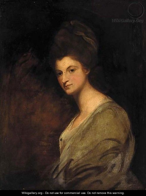 Portrait of a lady, half-length, in a white dress - (after) Romney, George