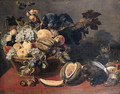 A parrot perched on a basket of fruit - (after) Frans Snyders