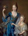 Portrait of a lady, her daughter at her side - (after) Jean Francois De Troy