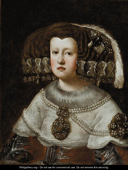 Portrait of Queen Mariana of Austria - (after) Diego Rodriguez De Silva Y Velazquez