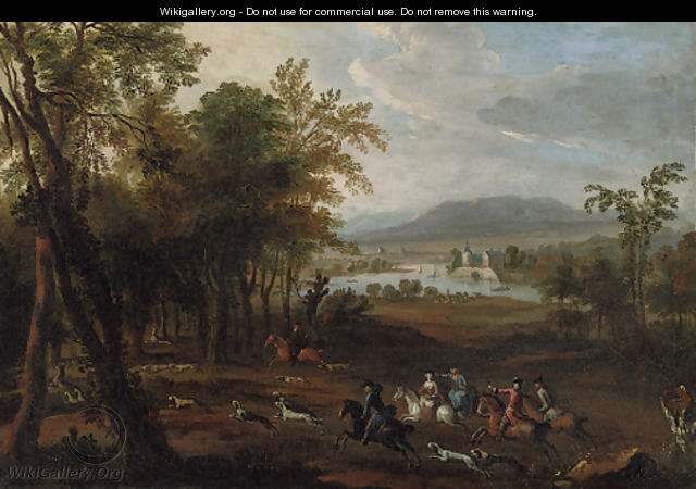 A stag hunt in a wooded landscape, with a mansion beside a river beyond - (after) Jan Wyck
