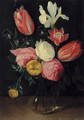 Roses, tulips, an iris, pansies and an anemone in a glass vase - (attr. to) Kessel, Jan van