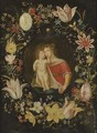The Virgin and Child surrounded by a garland of flowers - (attr. to) Kessel, Jan van