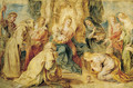 The Virgin and Child enthroned adored by eight Saints - Peter Paul Rubens