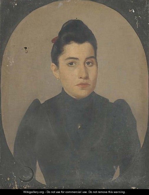 Portrait of a lady, half-length, in black, in a feigned oval - Spanish School