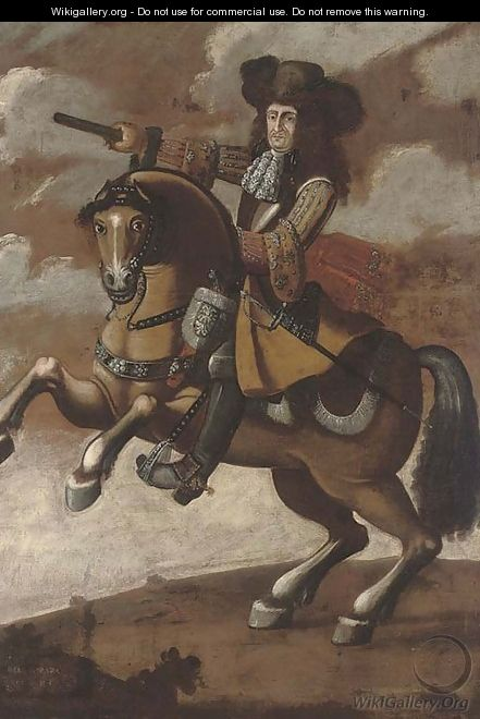 Portrait of a gentleman, full-length, on horseback, holding a baton in his right hand - Spanish School