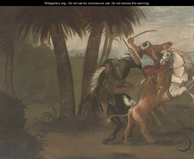 Ottomans on horseback hunting a lion - Spanish School