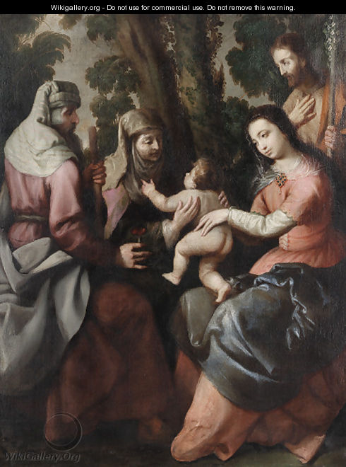 The Holy Family with Saints Anne and Joachim - Spanish School