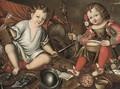 An Allegory of Male and Female, two children seated in an interior with masculine and feminine symbols - Spanish School