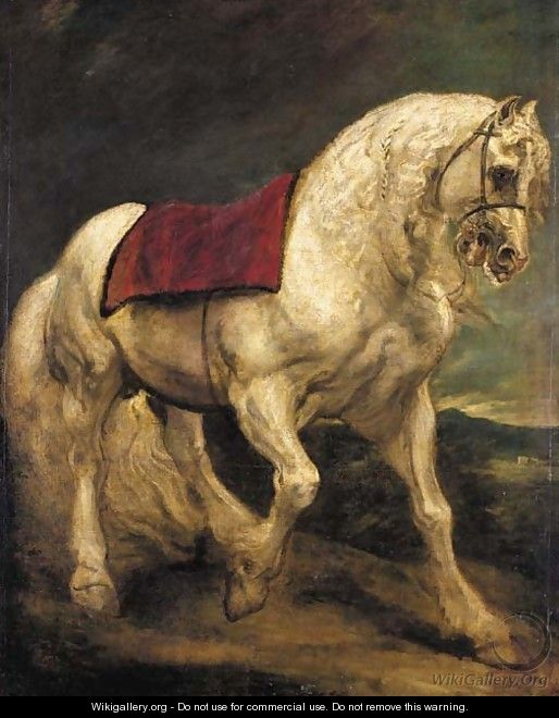 A bridled grey stallion, with a saddle cloth and partially plaited mane a modello - Sir Anthony Van Dyck