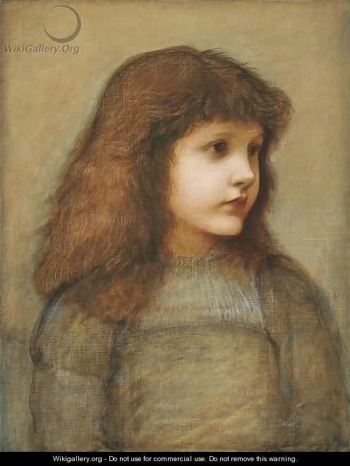Portrait of Gertie Lewis, half-length - Sir Edward Coley Burne-Jones
