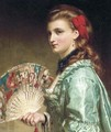 Portrait of a lady, half-length, with an ivory fan - Sir Frank Dicksee