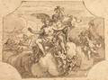 Zephyrus and Flora with putti and garlands on clouds - Sir James Thornhill