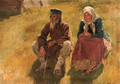 Old Russian peasant Couple at rest - Sergey Arsenievich Vinogradov