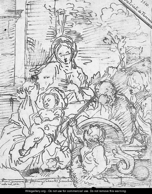 The Rest on the Flight into Egypt with the infant Baptist and another figure - Sébastien Bourdon