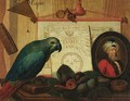 A trompe-l'oeil still life with a parrot on a book, figs, a portrait miniature of a turbaned man, a navigational chart, a comb and a magnifying glass - Sebastiano Lazzari