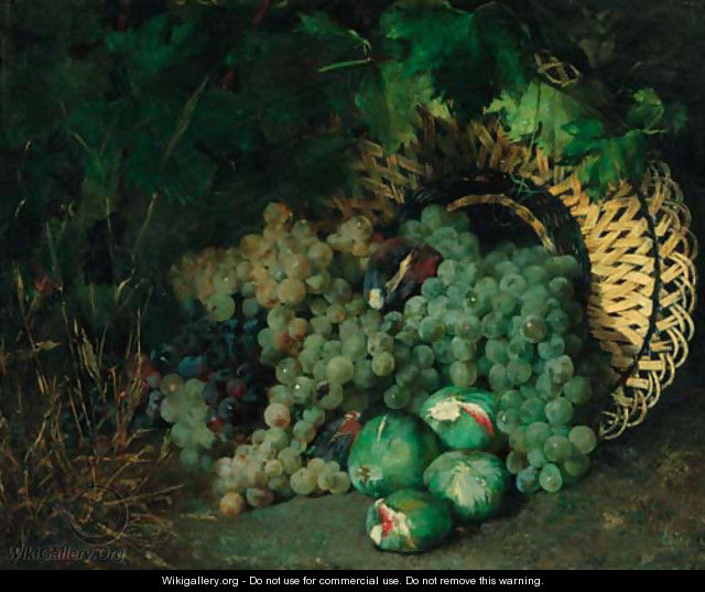 An upturned basket of grapes and figs - Sebastian Gessa Y Arias