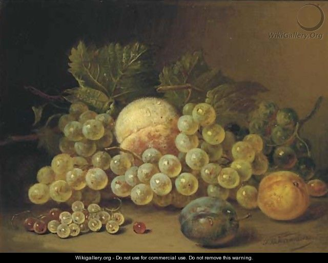Still life with fruits on a ledge - Sebastiaan Theodorus Voorn Boers