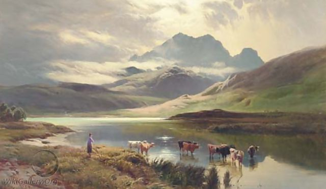 Cattle watering - Sidney Richard Percy