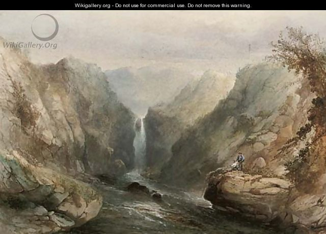 Angling below the waterfall - Sidney Paget