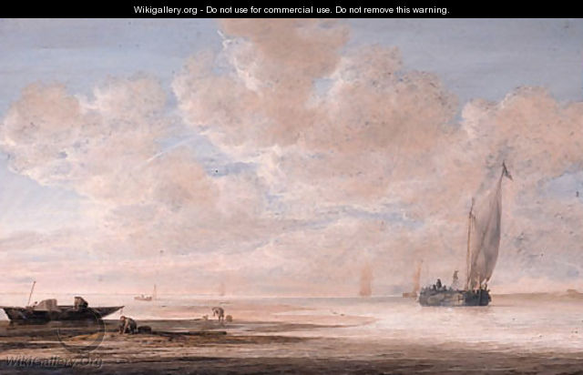 A calm fishermen at work on a sandbank with a wijdschip approaching a harbour nearby, other shipping beyond, at dawn - Simon De Vlieger