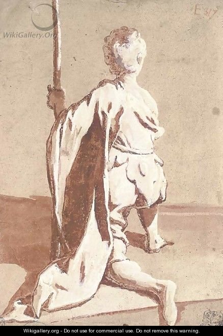 A kneeling young man seen from behind, holding a staff - Sigismondo Caula