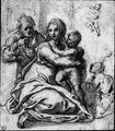 The Holy Family with the Infant Baptist, and a subsidiary study of the child - Sienese School