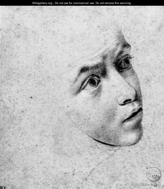 Head of a nun looking up to the right - Sienese School