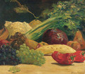 Still life with vegetables and grapes - Willem Maris