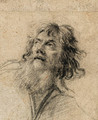 The Head of a bearded Man, looking up to the left - Simon Vouet