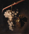 A trompe l'oeil a bunch of grapes hanging before a stone wall - Simon Pietersz. Verelst