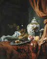 A blue and white facetted vase with other dishes, glasses, fruit and roses on a draped table - Simon Luttichuys