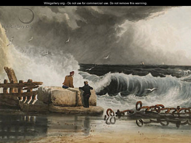 Figures watching a passing storm - Samuel Prout