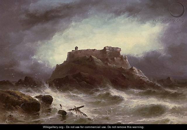 Rough weather. The Grande Rocque, Cobo Bay, Guernsey - S.L. Kilpack