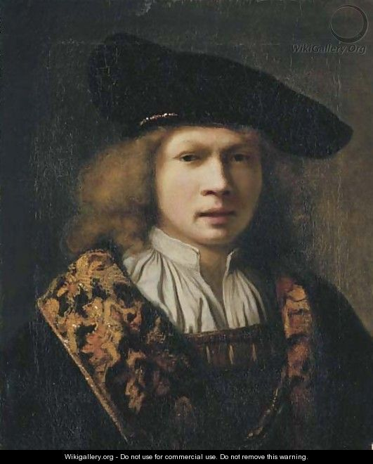 Portrait of a young man, bust-length, in a brocade-lined cloak and a velvet black cap - Samuel Van Hoogstraten