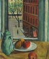 Still Life with Fruit with View of Street from Window - Samuel Halpert