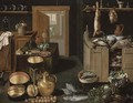 A kitchen interior with dead game on a wooden ledge - School Of Antwerp
