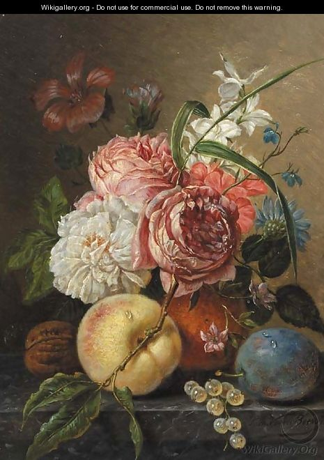 A still life with roses - Sebastiaan Theodorus Voorn Boers