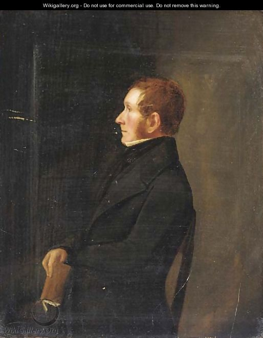 Portrait of a gentleman, in a black suit, holding a book, in profile - Scottish School