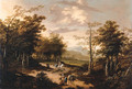 An extensive wooded landscape with travellers on a path - School Of Haarlem