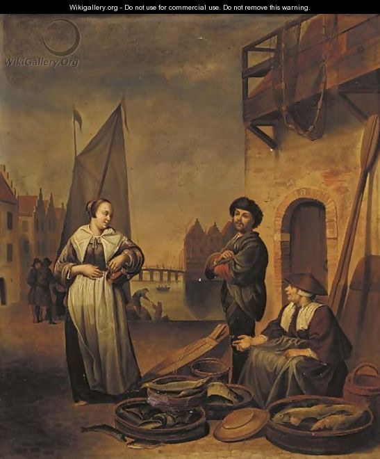 Selling Fish On A Dutch Quay - Munich School