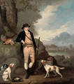 Portrait of George Farmer of Witton Manor, Staffordshire, full-length, with his dogs, in a landscape - Moses Haughton